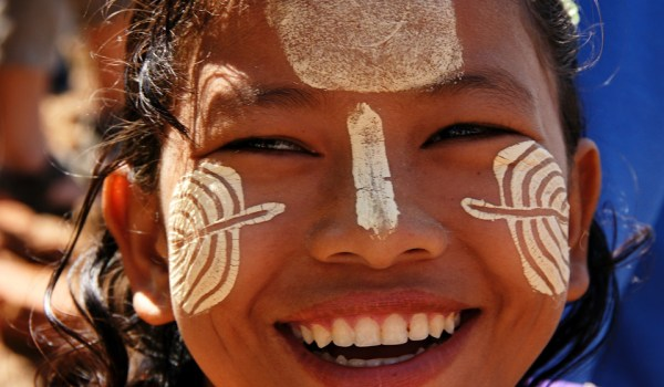 Girl with thanaka decorations on her face, Amarapura