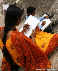 Making drawings of the Qutb Shahi Tumbs near the city of Hyderabad