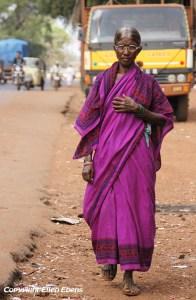 Woman walking along the street