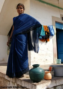 A woman in the little town of Badami