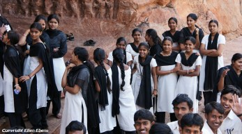 Students on excursion to the cave temples of Badami