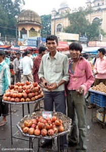 Selling pomegranates on the market in Hyderabad