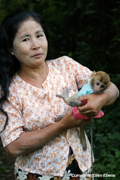 On the road from Toungoo to Kalaw, a woman with her little monkey pet