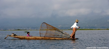 A leg rowing fisherman on Inle Lake