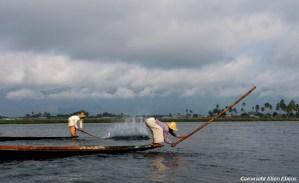 Leg rowing fishermen on Inle Lake