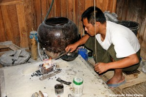 Inle Lake, silversmith at work