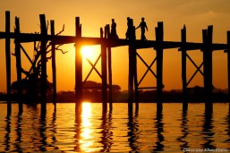 Amarapura, the famous U Bein Bridge at sunset