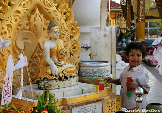 Pyay, a boy at the Shwehsandaw Pagoda