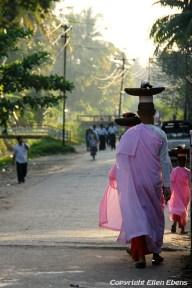 Pathein, street life with nuns