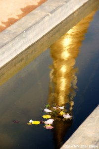 Pindaya, reflection of a pagoda in the water