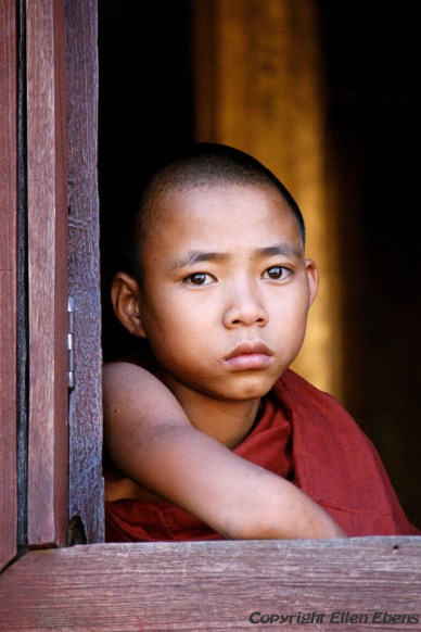 Inle Lake, young monk at the Shwe Taunghwe Kyaung Monastery