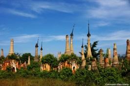 Inle Lake, crumbling groups of ancient pagodas at Indein Village