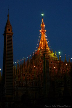 Near Monywa, the Thanboddhay Temple after sunset