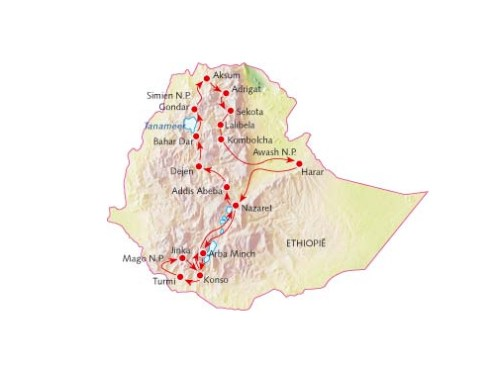 Map of my Ethiopia travel in 2006