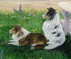 Detail of Waiting by the Lake, 24 x 36 fine art painting by Ellen Leigh artist's collection, NFS