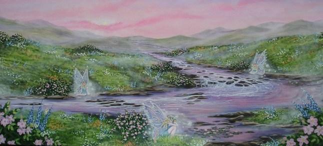 Fairies 42 x 72 fine art painting by Ellen Leigh