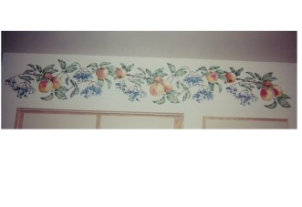 Stenciled soffit- Apples and Elderberries. by Ellen Leigh.