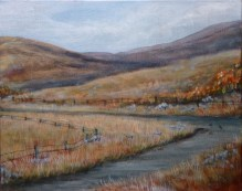 Trough Road triptych artwork Detour 3 8 x 10 fine art painting by Ellen Leigh, part of a triptych, in private collection, prints available on FAA