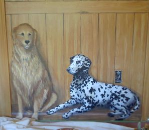 Barn Room mural dogs. Detail of the pets. Mural by Ellen Leigh