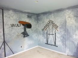 teen boys room murals- gymnastics equipment
