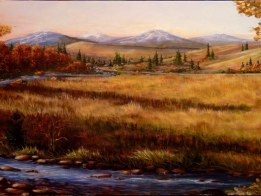 colorado landscape artwork- Colorado Meadow Morning by Ellen Leigh
