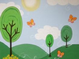 cartoon park mural by Ellen Leigh