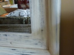 distressed finish mirror by Ellen Leigh