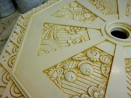 Step 4 removing the glaze on the ceiling medallion by Ellen Leigh