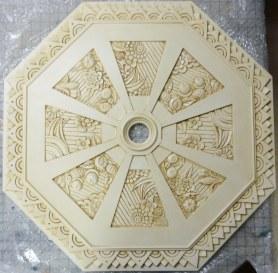 Ceiling medallion, glazed to accent design by Ellen Leigh