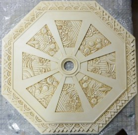Ceiling medallion, glazed to accent design by Ellen Leigh