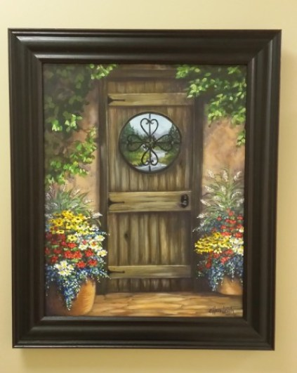 Dana's Hacienda 18 x 24 fine artwork painting by Ellen Leigh depicting a door looking out to the western scenery. by Ellen Leigh