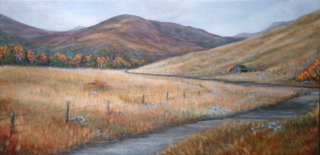 Trough Road Detour 12 x 24 fine artwork painting by Ellen Leigh prints available on FAA original available