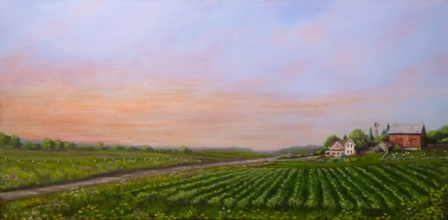 Sunset on the Farm 24 x 48 fine artwork painting by Ellen Leigh. barn, farm, sunset, prints available at FAA