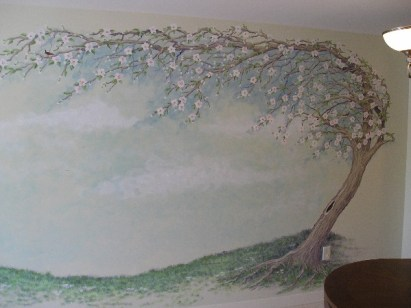 Windswept Apple Tree large mural in dining area. Mural by Ellen Leigh