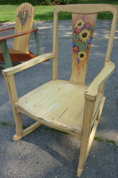 Old oak rocker, distressed, painted and glazed- handpainted details by Ellen Leigh