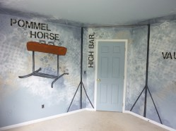 Gymnastics equipment and an artistic background to give it personality and motion. Mural by Ellen Leigh