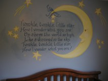 Man in the Moon, the twinkle lyrics and stars are a sweet theme for this boy's nursery. Mural by Ellen Leigh