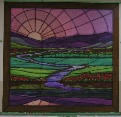 23rd Psalm stained glass mural. Still Waters. Mural by Ellen Leigh