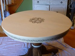 Old Oak table, painted, distressed and glazed. Stenciled details by Ellen Leigh