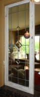 Leaded glass window frame painted, distressed and glazed by Ellen Leigh