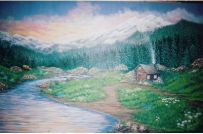 Cabin in the woods mural. Bears, deer and a lone cabin, mountains in the background. Mural by Ellen Leigh