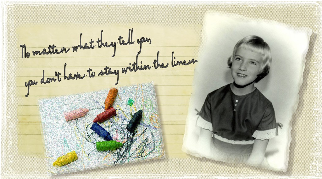 No matter what they tell you, you don't have to stay within the lines. Adorable scrapbook style header by Ellen Leigh
