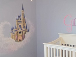 A fairy tale princess castle mural for a little girls room