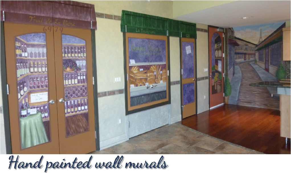 Hand painted wall murals by Michigan artist, Ellen Leigh