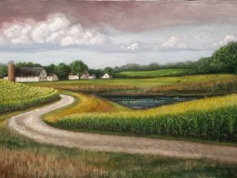 http://www.ellenleigh.com/pretty-little-farm-painting/ Little details complete this farm painting by Michigan artist Ellen Leigh