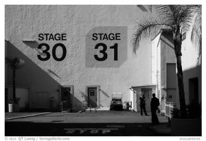 Shadows outside the sound stages, Studios at Paramount lot. Hollywood, Los Angeles, California, USA