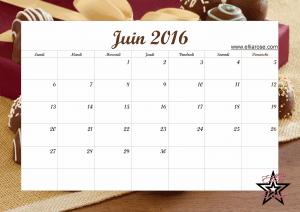 Calendrier Juin 2016 Ellia Rose