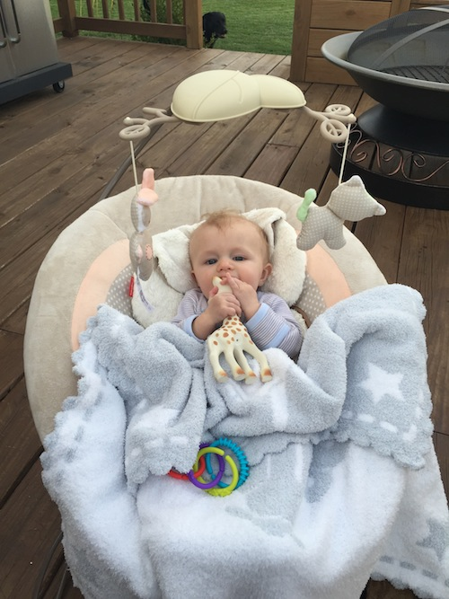 hanging out on the deck with Sophie