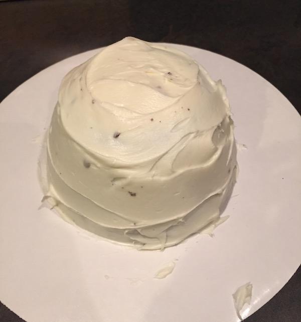 cake decorating in progress