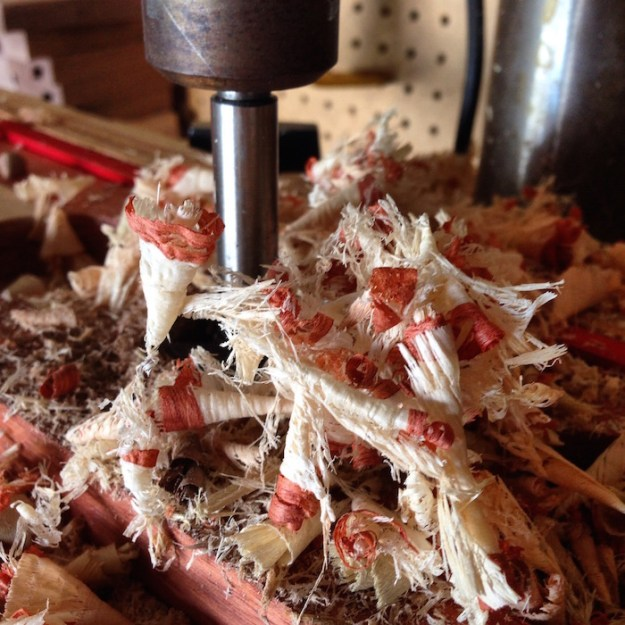 pretty wood shavings on the drill press